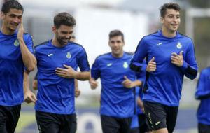 Marc Roca, sonriente, durante un entrenamiento.