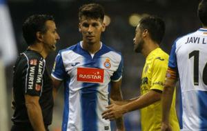 Hern�n P�rez, durante el encuentro ante el Villarreal.