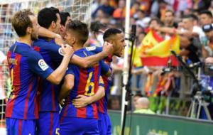 La celebraci�n del Barcelona en Mestalla.