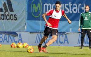 El jugador del Celta en uno de los entrenamientos con el club.