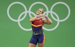 Lydia Valent�n, tras confirmar su bronce en R�o 2016.