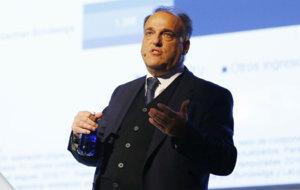 Javier Tebas, durante el foro 'World Football Summit'.