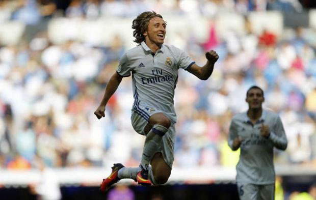 Modric celebra un gol esta temporada ante Osasuna