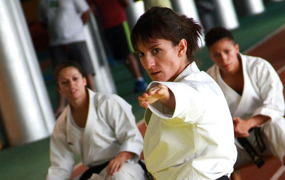 Sandra Sánchez, en una concentración de la Federación Española de...