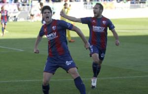 Melero celebra un gol durante un partido de esta temporada
