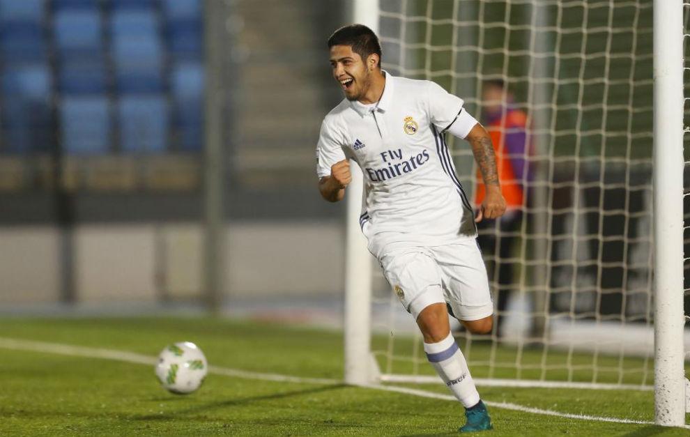 Sergio Díaz celebrando el gol ante el Athletic.