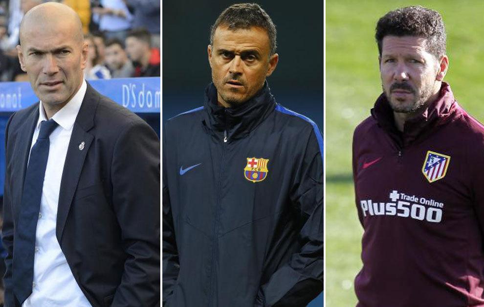 Zidane, Luis Enrique y Simeone, candidatos a 'The Best' como mejor entrenador del año