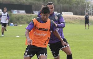 Zambrano, en un entrenamiento con el Valladolid.