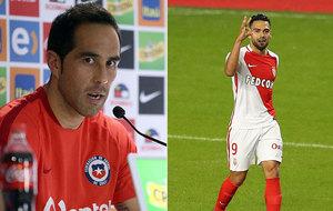 El chileno Claudio Bravo y el colombiano Radamel Falcao.