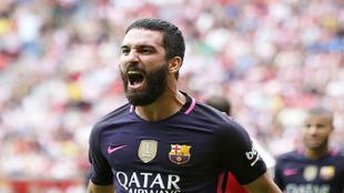 Arda celebra un gol que metió contra el Sporting.