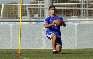 Jon Ander Garrido, durante un entrenamiento del Cádiz.