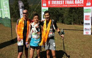 Casey Morgan, Pasang Lama y Miquel Capó, en meta.