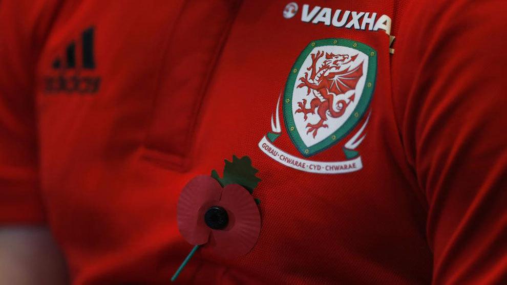 Camiseta de la selección de Gales con la amapola.