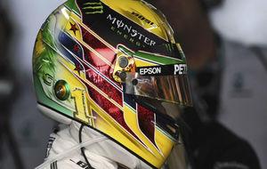El casco de Hamilton inspirado en Ayrton Senna.