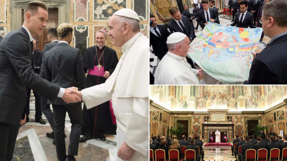 Así fue la visita del combinado alemán al Papa Francisco