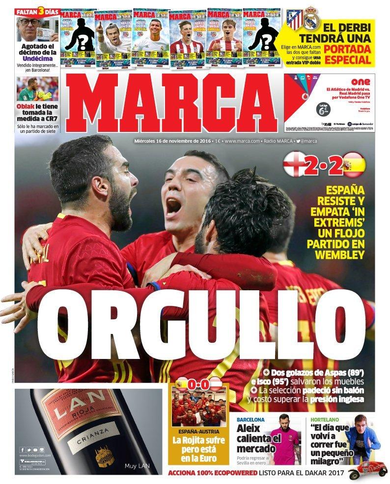 Las portadas del mi rcoles 16 de noviembre for El marca del madrid