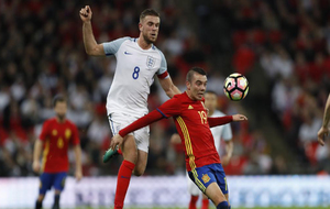 Aspas en un partido contra Inglaterra.