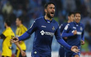 Jorge Molina celebrando el gol contra el Real Zaragoza.
