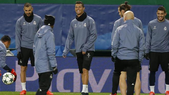 Entrenamiento del Real Madrid en Lisboa.