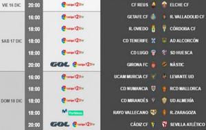 Horarios de la 19ª jornada de la Liga 123