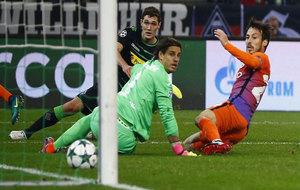 Silva marca el tanto del City.