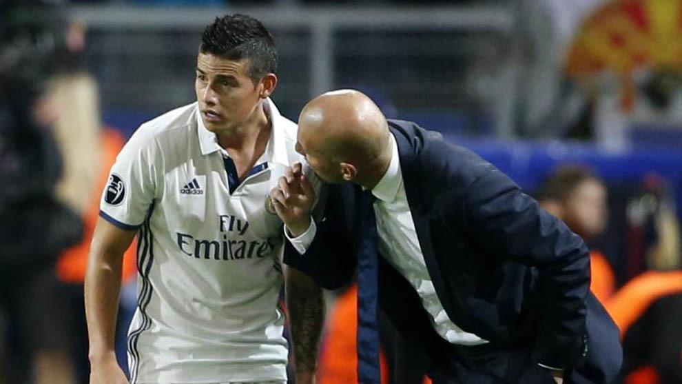 Image result for Zinedine Zidane with James Rodriguez