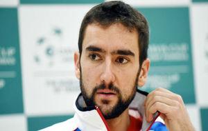 El croata Cilic, en la rueda de prensa de presentación del equipo