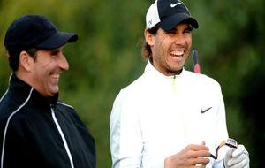 José María Olazábal y Rafa Nadal, durante el ON Invitational de...