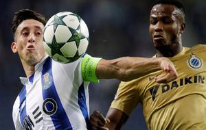 Héctor Herrera, en un partido de Champions contra el Brujas esta...