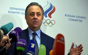 Vitaly Mutko, ministro de Deportes ruso, atendiendo a los medios de...