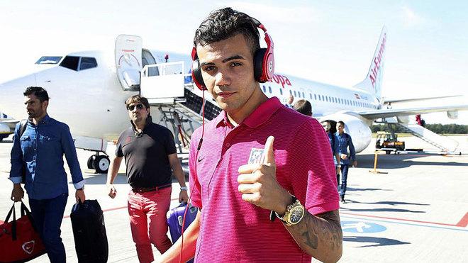Schiappacasse, en un viaje con el Atlético de Madrid.