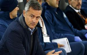 Fran Escribá durante el encuentro contra el Deportivo Alavés