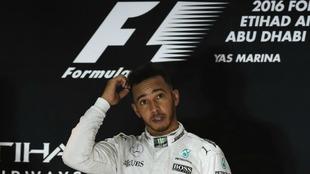 Hamilton, en el podio.