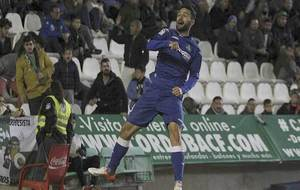 Jorge Molina celebra el segundo gol del Getafe en el Nuevo Arcángel
