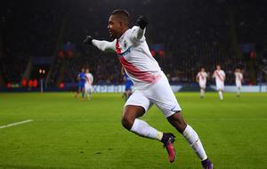 Izquierdo, celebrando su gol ante el Leicester en Champions.