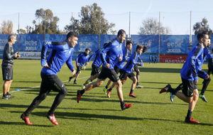 Varios jugadores del Espanyol, en una sesión física.