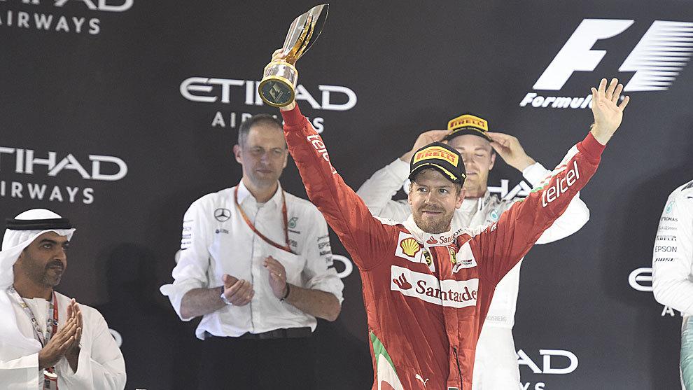 Sebastian Vettel, en el podio de Abu Dabi