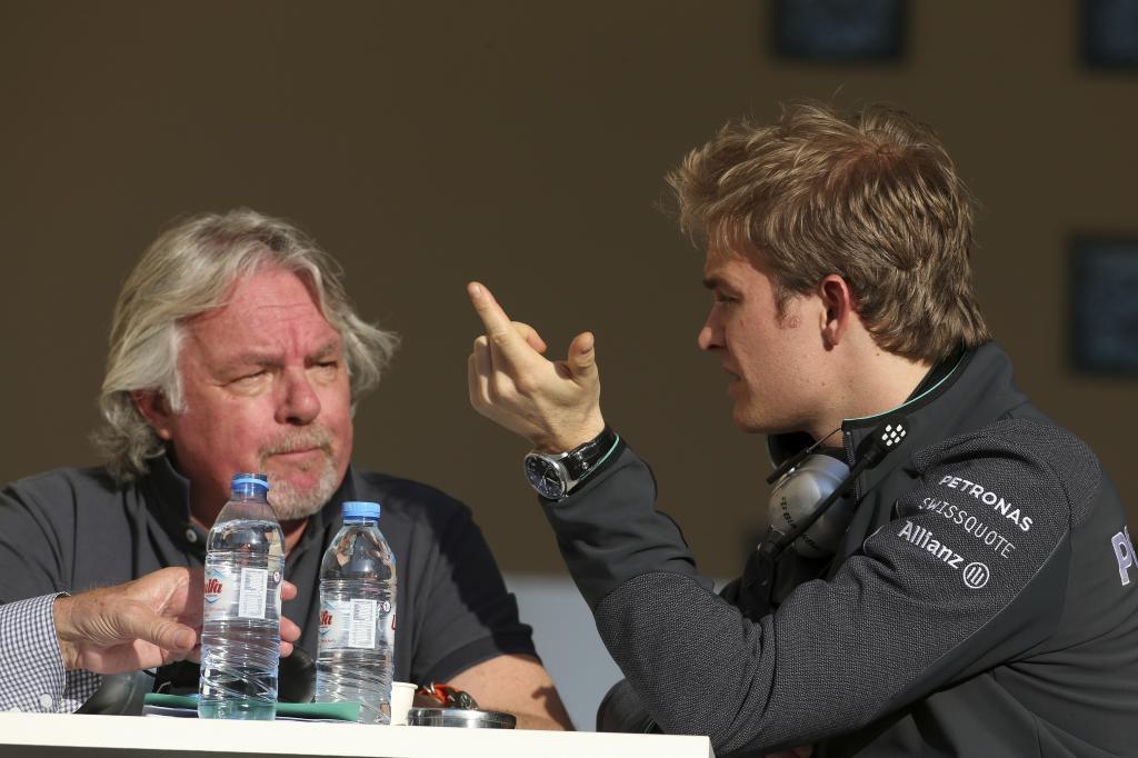 Keke y Nico Rosberg durante los test de invierno de Bahrein en febrero...