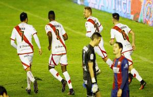 Miku, Manucho, Ebert y Álex Moreno en el último partido del Rayo en...
