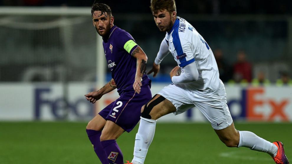Gonzalo Rodríguez durante en encuentro de Europa League