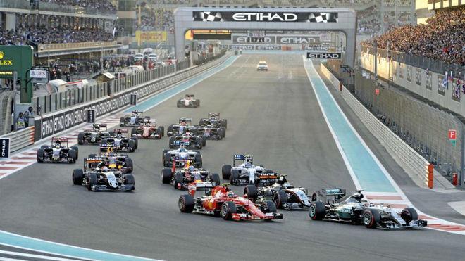 La salida del Gran Premio de Abu Dabi de 2016.