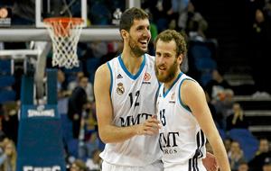 Nikola Mirotic y Sergio Rodríguez durante su etapa en el Real Madrid
