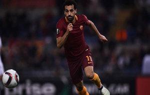 Salah, durante un partido con la Roma