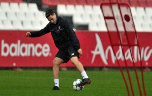 Samir Nasri, en un entrenamiento en la ciudad deportiva.