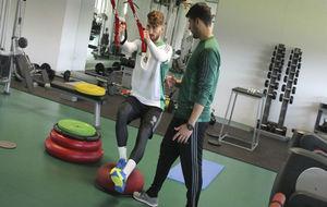 Piccini trabaja en el gimnasio de la ciudad deportiva.