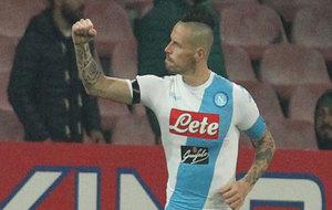 Marek Hamsik celebra su tanto ante el Inter.