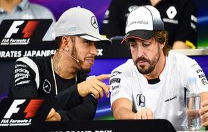 Alonso y Hamilton en una rueda de prensa
