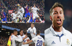 Celebración del gol de Sergio Ramos en el Nou Camp en el minuto 90