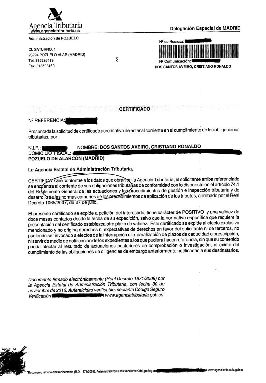 Real madrid la agencia tributaria dice que cristiano for Oficinas de la agencia tributaria madrid