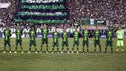Un once del Chapecoense, durante un partido de la Copa Sudamericana.